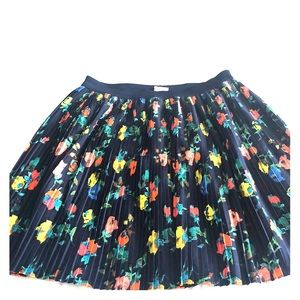 Blue, pleated, floral skirt